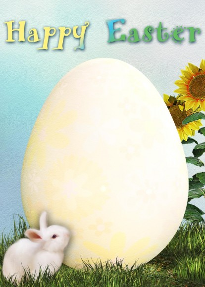 Blank egg Easter card picture.