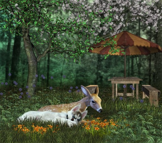 Siberian Husky Lara and her young deer friend look very peaceful together.