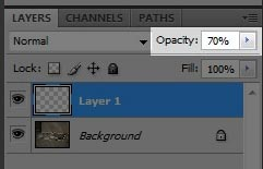 Step 5 - Set the opacity of our background mask to 70%.