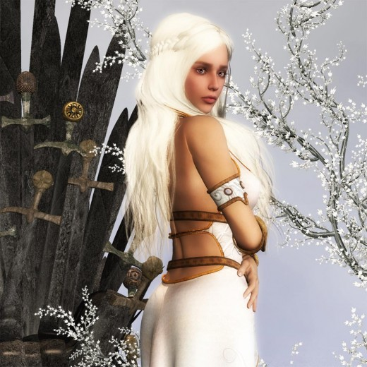 Mother of Dragons side close-up with iron throne in background.