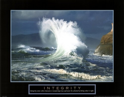 Integrity (Wave Crashing By Cliff) Motivational Poster Print