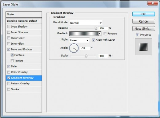Photoshop blending effect menu screenshot.
