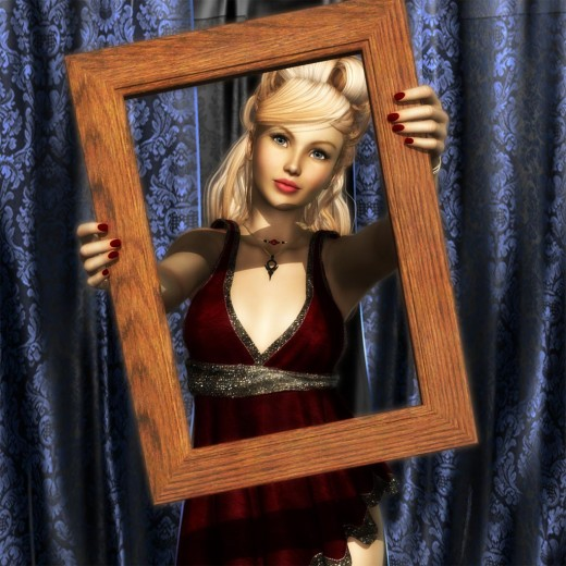 Blonde girl holding up picture frame.