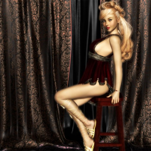 Blonde girl sitting on a stool.