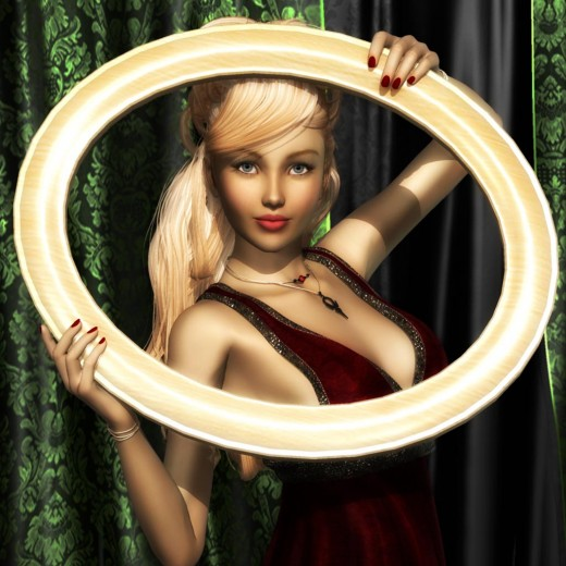 Blonde girl holding a round frame.