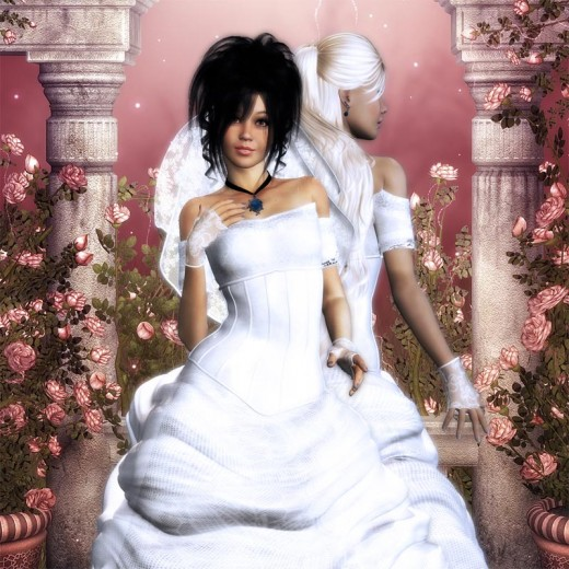 Black haired and white haired brides in wedding gowns in front of a pink fantasy background.