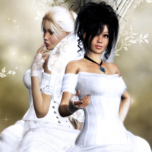 Close up of two brides in white wedding gowns.