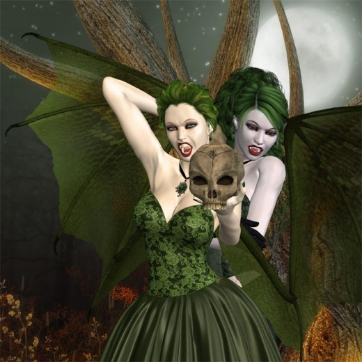 Two vampire girls with green devil wings and fangs showing. Left vampire has her arm up with the other hand holding a skull, right vampire is looking down. White moon in background.