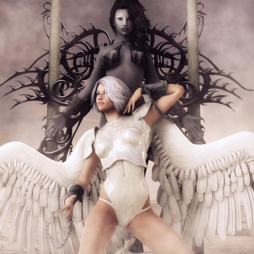 Good angel with white feathered wings at the bottom, chained to dark angel with tribal black wings on top.