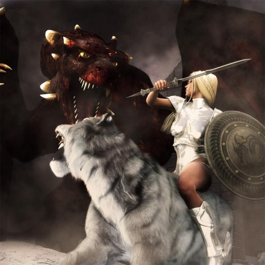 White knight in shining armor sitting on a white Siberian Tiger, battling with a large dragon.