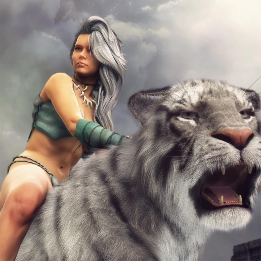 Lady with long hair sitting on a Siberian Tiger.