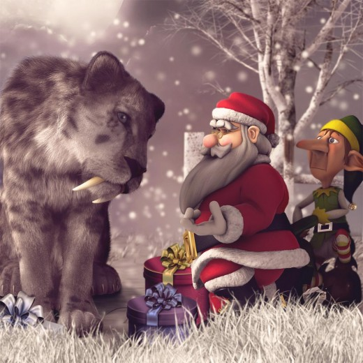 Toon Santa offering a helping hand to a large sabertooth tiger, with his helper elf staying faithfully behind him.
