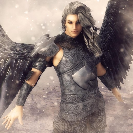 A male angel with long hair and dark wings standing in the snow.
