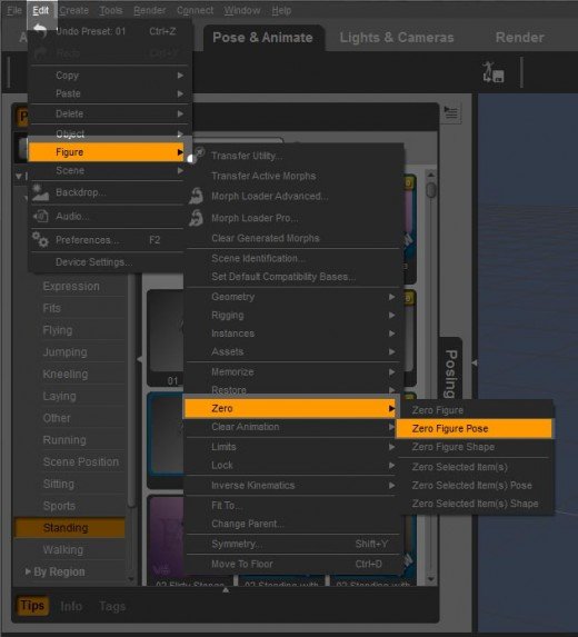 Screen-shot of the drop-down menus we go through to zero-out a figure pose.