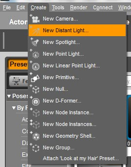 Drop-down menus on how to create a new distant light.