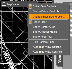 Screen-shot of the drop-down menu for changing the background color of our Daz Studio scene.