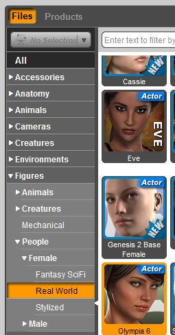 Selecting Figures >> People >> Female >> Real World from the Smart Content pane to add a figure into our scene.