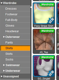 Selecting clothing for our Olympia 6 figure from our Smart Content pane.