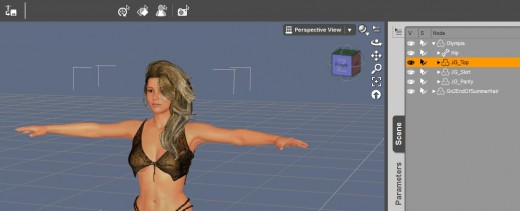 Screen-shot of our Olympia 6 figure with added clothing and hair items.
