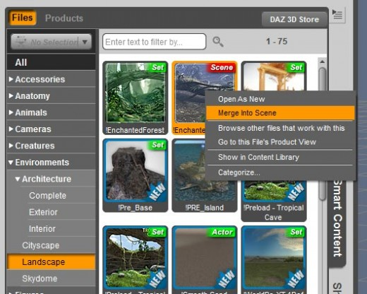Screen-shot of the environment objects in our Smart Object pane.