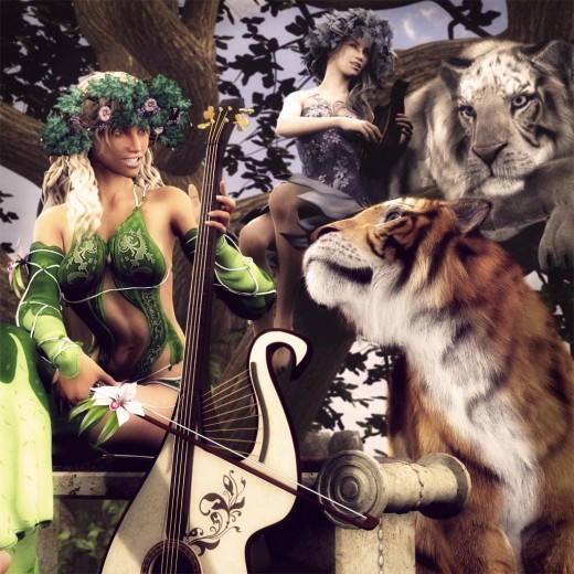 Summer fairy playing a cello together with her tiger familiar. Winter fairy playing a lyre up on a tree with her white Siberian Tiger.
