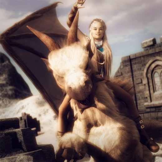 Combined pose of a girl riding on her dragon, and waving goodbye before take-off.