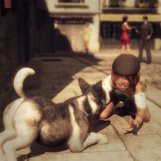 Kid wearing a cap kneeling on the ground, saying hello to a Siberian Husky puppy dog.