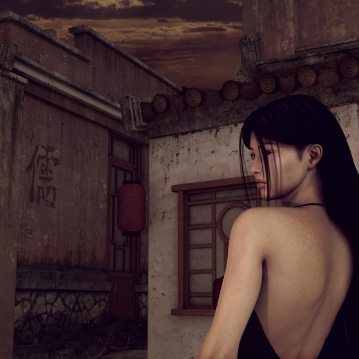 Asian woman with long black hair, wearing a low-back-scoop red dress, looking contemplative at sunrise.