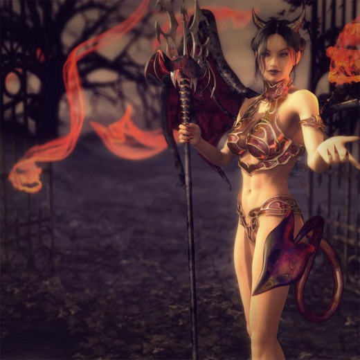 Cute girl devil, holding a pitchfork, standing in front of the gates of hell. Red skulls flying about in the background.