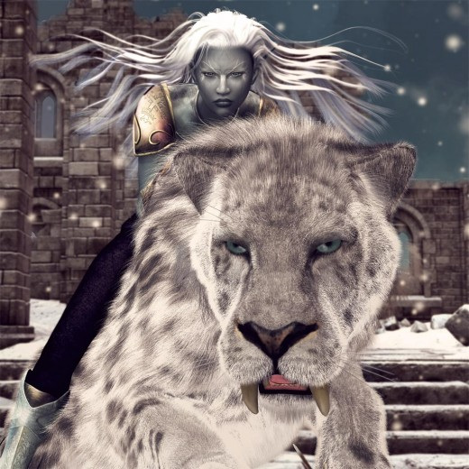 Dark elf woman riding on a white saber-tooth tiger. Snowy ruins background.