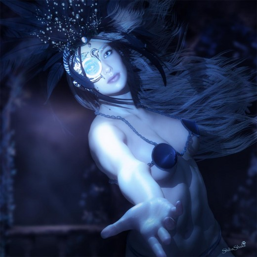 Woman with headdress and eye-piece, holding out her hand, in blue light.