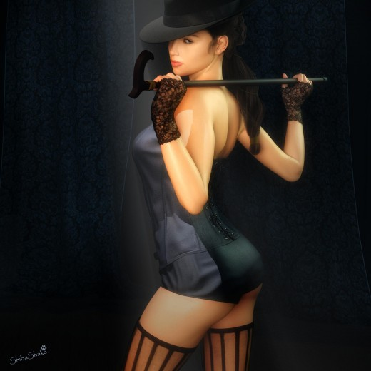 Dancer with hat, cane, and black stockings. Curtains in the background.