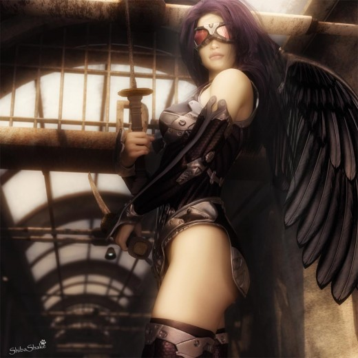 Dark angel standing with black wings and goggles.