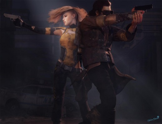 Post apocalyptic image with a woman to the left and a man to the right, both holding guns.