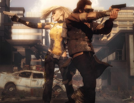 Post apocalyptic scene with a woman to the left and a man to the right, both holding guns. Ruined city and car in the background.