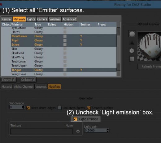 Screenshot for how to turn off light emitter option in Reality 4 plugin.
