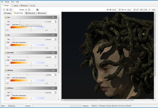 Screen shot of the LuxRender light groups tab.