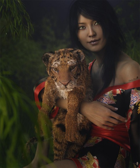Pin-up digital art of an Asian woman holding a tiger cub, with bamboo trees and bushes in the background.