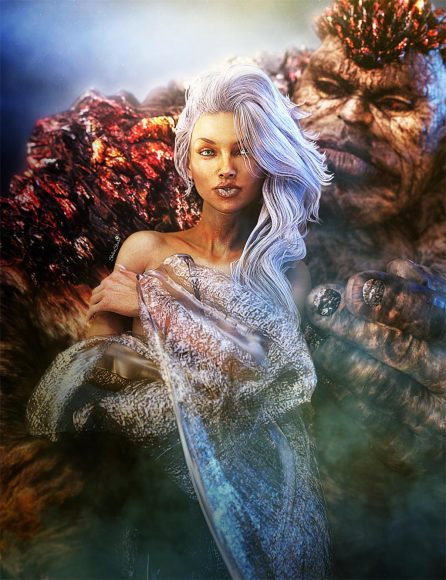 Beautiful white-haired woman in embrace of a stone beast. Love and opposites attract fantasy art.