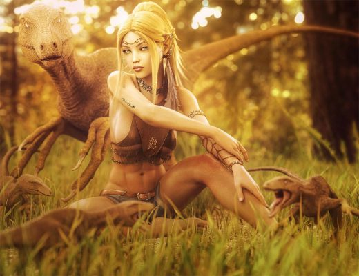 Sexy blonde elf girl sitting in a clearing in the woods surrounded by her dinosaur friends. Fantasy woman art. Daz Studio Iray image.