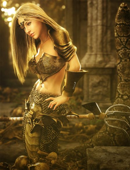 Blonde haired naga warrior woman with gold armor and weapon. Ruins, skulls, and bones in the background. Fantasy woman art. Daz Studio Iray image.