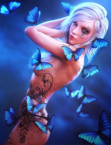 Blonde pin-up girl with butterfly tattoos standing with blue butterflies around her. Fantasy woman art. Daz Studio Iray image.