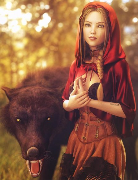 Blonde little red riding-hood girl standing next to a big black wolf. Woods and trees background. Fantasy woman art. Daz Studio Iray image.