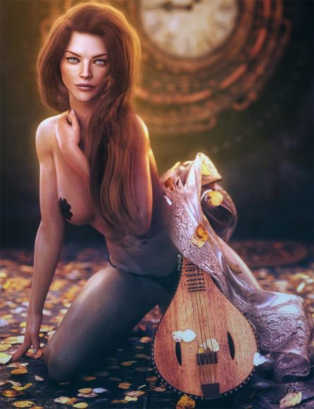 Sexy brown-haired woman with lute, fantasy woman pin-up art. Daz Studio Iray image.