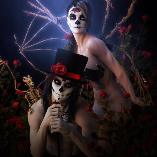Couple with Sugar Skulls makeup. The man is sitting with a top-hat, cane, and bone dragon on his shoulder. Woman is standing with bone wings. Couple is surrounded by beautiful red roses. 3D-art by Shiba Shake.