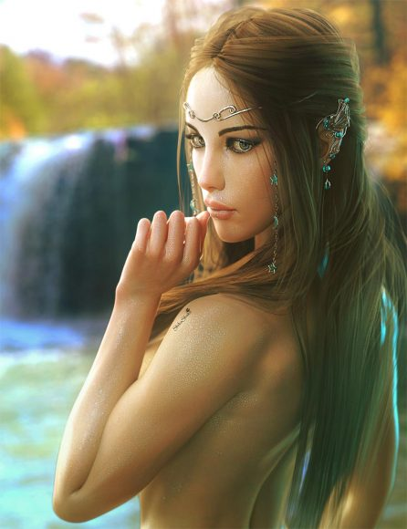 Sexy elf girl bathing near a waterfall. Fantasy woman pin-up art. Daz Studio image.