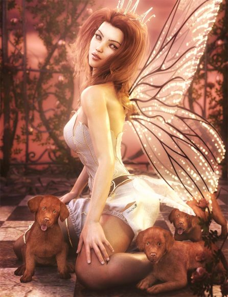 Cute fairy girl with crown and glowing wings kneeling on floor with three brown Labrador puppies. Pink rose vines and pink sky in the background. Fantasy Woman Art. Daz Studio Iray image.