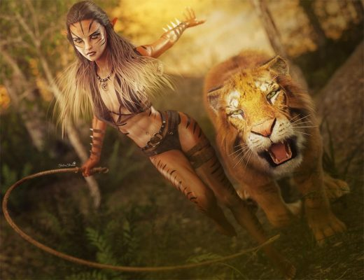Cute jungle cat girl with a whip running through the woods with her tiger by her side. Fantasy 3D-Art. Daz Studio Iray render.