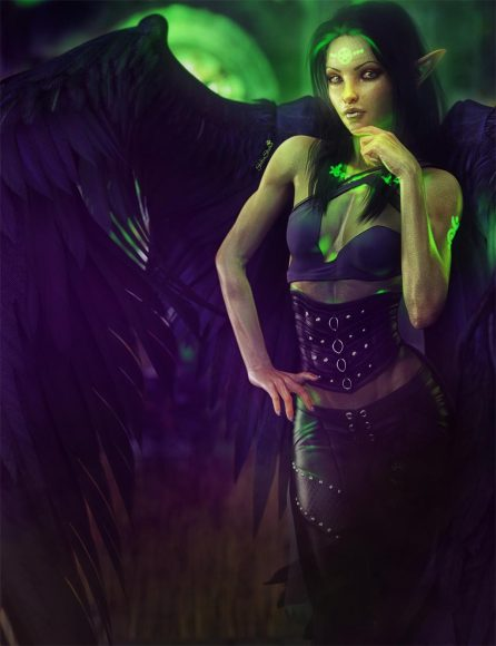 Fantasy dark angel woman with black hair and magic green glowing tattoos.