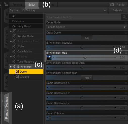 Screen shot of of the render settings interface in Daz Studio Iray.